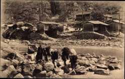 Postcard Hoei Sien Kan Sou Gansu China, Chinesen am Fluss, Missionierung