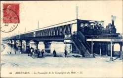 Postcard Bordeaux Gironde, La Passerelle de la Compagnie du Midi, Eisenbahn