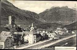 Postcard Hospenthal Kt. Uri, Gotthardstraße, Burgturm, Kapelle, Ort
