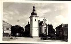 Postcard Červený Kostelec Rothkosteletz Reg. Königgrätz, Namesti, Markt, Kirchturm