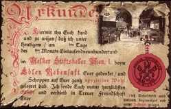 Präge Litho Wien I., Melker Stiftskeller, Edler Rebensaft, Urkunde