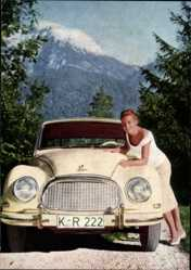 Postcard Schauspielerin Romy Schneider, DKW Coupe, Auto, KR 222