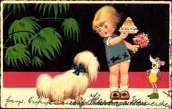 Postcard Glückwunsch Geburtstag, Kuchen, Hund, Maus, Kuchen, Kind