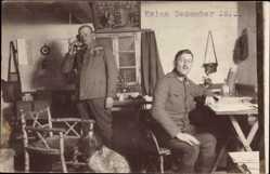 Foto Ak Kalne Ukraine, Soldat am Telephon, Weihnachtsbaum, Jagdhund