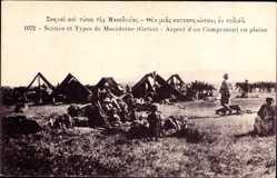 Ak Griechenland, Scenes et Types de Macedoine, Aspect d'un Campement en plaine