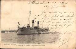 Postcard Cassini Villersexel Haute Saône, Französisches Kriegsschiff,Contre Torpilleur