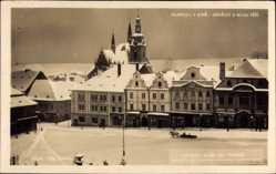 Ak Klatovy Klattau Reg. Pilsen, Namesti S Bilou Vezi, Kirche im Winter