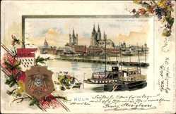Präge Wappen Litho Köln am Rhein, Blick von Deutz aus, Brücke