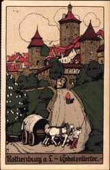 Steindruck Ak Rothenburg o. Tauber, Blick auf das Kobolzellertor