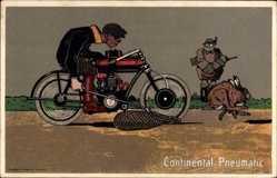 Steindruck Ak Continental Pneumatic, Hasenjagd mit Fangnetz, Motorrad, Jäger