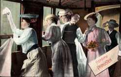 Postcard Glückwunsch Pfingsten, Frauen, Eisenbahnwaggon, Fenster, Winken, Abschied
