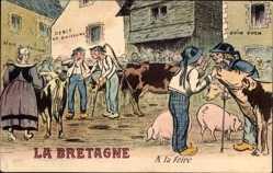 Künstler Ak La Bretagne, A la Foire, Viehmarkt, Kühe, Schweine