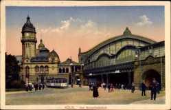 Postcard Köln am Rhein, Partie am Hauptbahnhof, Straßenbahn
