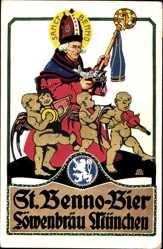 Künstler Ak Obermeier, St. Benno Bier, Löwenbräu München