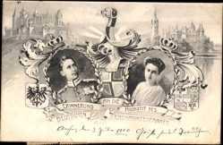 Wappen Ak Hochzeit Kronprinz Wilhelm v. Preußen,Cecilie zu Mecklenburg