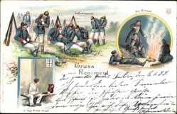 Litho Gruß vom Regiment, Gefechtspause, Bivouak, 3 Tage Mittel Arrest