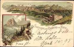 Litho Veytaux Kt. Waadt Schweiz, Rochers de Naye, Hotel, Gebirge, Eisenbahn