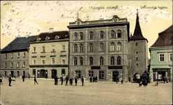 Postcard Slany Mittelböhmen, Obcanska zalozna, Velvarska brana, Torturm
