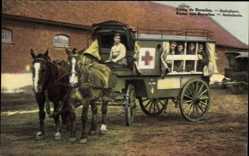 Ak Camp de Beverloo Flandern Limburg Belgien, Ambulance, Pferd, Soldaten