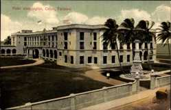 Postcard Colon Panama, View of Hotel Washington, palm trees, monument