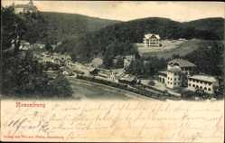 Postcard Rosenburg Niederösterreich, Bahnhof, Gleisseite, Blick auf den Ort