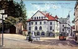 Postcard Meran Obermais Südtirol, Carl Ludwigplatz, Post, Straßenbahn, Rathaus