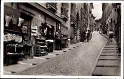 Postcard Lugano Kt. Tessin Schweiz, Via Cattedrale, Straßenpartie, Geschäfte