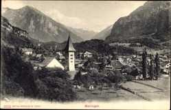 Postcard Meiringen Kt. Bern Schweiz, Blick auf den Ort, Gebirge, Kirchturm