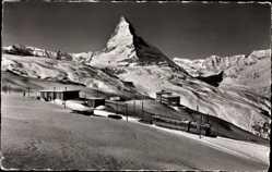 Postcard Zermatt Kt. Wallis Schweiz, Hotel und Station Riffelberg, Matterhorn