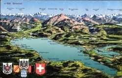 Landkarten Ak Friedrichshafen am Bodensee, Grenze, Österreich, Schweiz