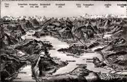 Landkarten Ak Stans Kt. Nidwalden Schweiz, Luzern, Rigi Kulm, Bristenstock