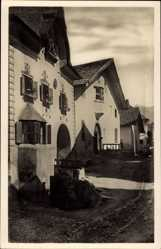 Postcard Sent Kt. Graubünden Schweiz, Dorfpartie, Tor, Häuser, Straße