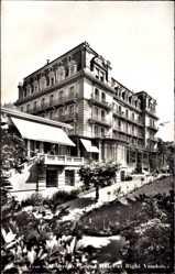 Postcard Glion Montreux Kt. Waadt, Grand Hotel et Rigi Vaudois, Fassade