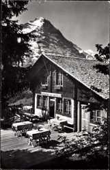 Postcard Grindelwald Kt. Bern Schweiz, Restaurant zur Aellfluh, Eiger, Jungfrau