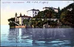 Postcard Lago di Como Lombardia, Punta Balbianello, Häuser, Kirche, See