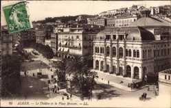 Ak Algier Alger Algerien, Le Theatre et la Place Bresson, Straßenbahn