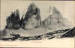 Postcard Südtirol Italien, Blick auf die drei Zinnen, Sextener Solomiten