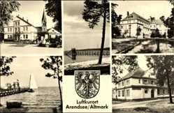 Postcard Arendsee Altmark, Jonny Schehr, Segelboot, Kirche, Gebäude