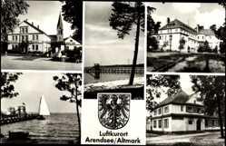 Postcard Arendsee Altmark, Segelboot, Gebäude, Jonny Schehr, Wasserrutsche