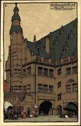 Steindruck Ak Schweinfurt in Unterfranken Bayern, Blick auf das Rathaus