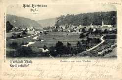Postcard Dahn im Kreis Südwestpfalz, Hotel Bartmann, Totalansicht der Ortschaft