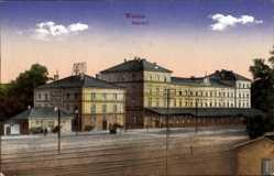 Postcard Weiden in der Oberpfalz, Blick auf den Bahnhof, Gleisseite