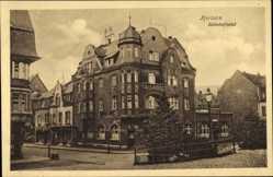 Postcard Herborn im Lahn Dill Kreis, Blick auf das Bahnhofhotel, Straßenpartie
