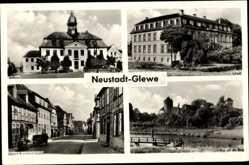 Postcard Neustadt Glewe, Rudolf Breitscheid Straße, Rathaus, Schloss, Burg