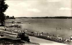 Postcard Luftkurort Plau am See, Partie am Plauer See, Badende Menschen