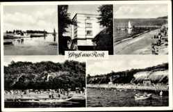 Postcard Rerik Kreis Rostock, Kurhaus mit Blick auf den Strand, Steg
