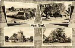 Postcard Wieck Darß, Ansicht der Ferienanlagen, Hütten, Mühle
