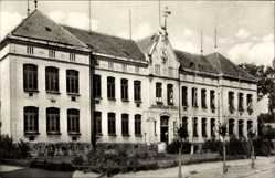 Postcard Goldberg in Mecklenburg, Front der John Brinckman Schule