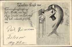 Postcard Hecht am Telefon, Fisch, Zylinder, Glocke