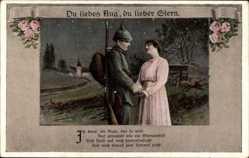 Postcard Du liebes Aug du lieber Stern, Soldatenliebe, Gewehr, Uniform